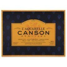CANSON Héritage merített, savmentes akvarellpapír-tömb 640 gr, 100 % pamutból, (4 oldalt ragasztott)  12 ív, finom 31 x 41 cm