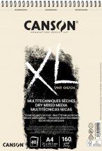 """CANSON """"XL"""" Sand grained, homokszemcsés pasztellpapír-tömb, rövid oldalán spirálkötött, mikroperforált 160g/m2 50 ív natúrsz. A4"""