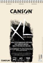"""CANSON """"XL"""" Sand grained, homokszemcsés pasztellpapír-tömb, rövid oldalán spirálkötött, mikroperforált 160g/m2 50 ív natúrsz. A3"""