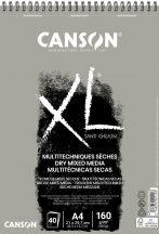 """CANSON """"XL"""" Sand grained, homokszemcsés pasztellpapír-tömb, rövid oldalán spirálkötött, mikroperforált 160g/m2 50 ív szürke A4"""