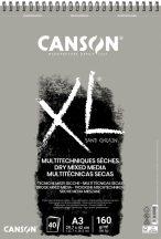 """CANSON """"XL"""" Sand grained, homokszemcsés pasztellpapír-tömb, rövid oldalán spirálkötött, mikroperforált 160g/m2 50 ív szürke A3"""
