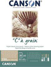 C á grain savmentes természetes rajzpapír tömb, rövid oldalán ragasztott, okker színű, finom szemcsés felületú, 250g/m2 30 ív A3
