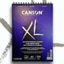 """CANSON  """"XL""""  Fluid Mix Media-tömb, folyékony médiumokhoz, röv. old. spirálkötött, mikroperforált 250g/m2 40 ív A4"""