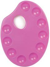 Paletta - ovális paletta, pink, egyéni csomagolással - 17x23cm - 10 keverőhelyes