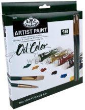 Kreatív hobby - Olajfesték készlet - 18 x 12 ml - 2 ecsettel