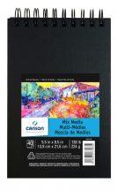 """CANSON ArtBooks: """"MIX MEDIA"""", rajz és akvarelltömb, finom szemcsés C á Grain papír, spirálkötött, fekete borító 224g/m2 40 ív 14 x 21,6"""