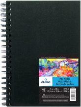 """CANSON ArtBooks: """"MIX MEDIA"""", rajz és akvarelltömb, finom szemcsés C á Grain papír, spirálkötött, fekete borító 224g/m2 40 ív 17,8 x 25,4"""