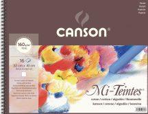 Mi-Teintes CANSON, savmentes színes pasztellkarton-tömb, (rövid oldalán spirálozott, selyempapír elválasztólap) 160g/m2 16 ív fehér 32 x 41