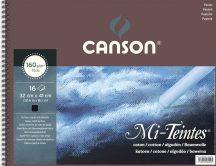 Mi-Teintes CANSON, savmentes színes pasztellkarton-tömb, (rövid oldalán spirálozott) 160g/m2 16 ív fekete 32 x 41