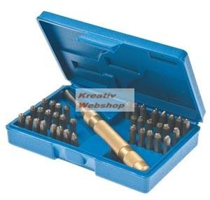 Betűbeütő és számbeütő szerszám készlet 38 részes: A-Z és 0-9, 4mm-es