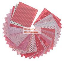 Origami papír - LOVE - 60 lapos, piros mintás hajtogató készlet 20x20 cm