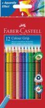 Faber-Castell GRIP 12 - akvarellceruza készlet, 12 színű, háromszög keresztmetszetű, csúszásgátló be