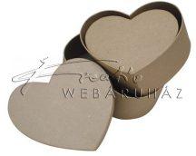 Papírdoboz készlet tetővel, natúr, szív alakú, közepes: 22-20-18cm - 3 db-os