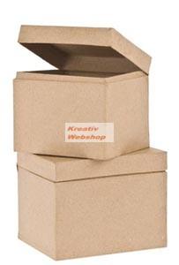 Papírdoboz készlet síkbeli fedéllel, szögletes, 2 db-os, 13x10x10 cm