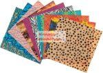 Origami papír, Vidám állatbőr mintás hajtogató készlet 15x15 cm, 50 lap