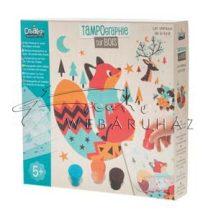 Festő készlet gyerekeknek, Festőszívaccsal nyomdázható állatos képek fa táblára - 12 képet tartalmaz