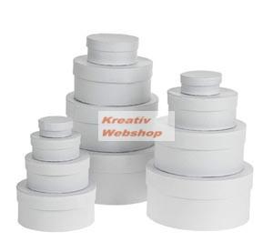 Papírdoboz készlet tetővel, fehér, kerek 12 db-os készlet, közepes és kisméretű, 16cm átmérő a legnagyobb