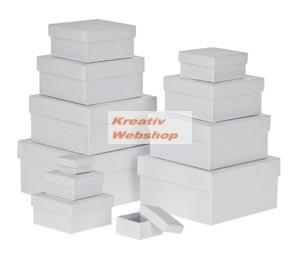 Papírdoboz készlet tetővel, fehér, négyzetes 12 db-os készlet, közepes és kisméretű, 15cm a legnagyobb