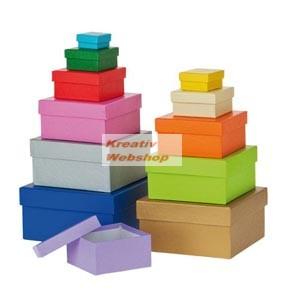 Papírdoboz készlet tetővel, színes, négyzetes, 12 db-os