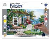 Kifestő készlet számokkal, ecsettel, felnőtteknek - 30x40 cm - Tavaszi terasz