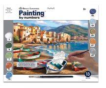 Kifestő készlet számokkal, ecsettel, felnőtteknek - 30x40 cm - Csónakok a tengerparton