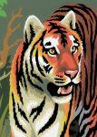 Kifestő készlet akrilfestékkel, ecsettel, gyerekeknek  - mini, 12x15 cm - Tigris