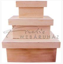 Díszíthető fadoboz készlet, téglatest alapú, széles tetővel - 3 db-os készlet, 18x14x7,5cm a legnagyobb doboz