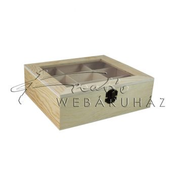 Díszíthető fa doboz, kapcsos, üvegtetővel, 9 nagyméretű rekesszel - 22 x 19 x 7 cm, teafiltertartó