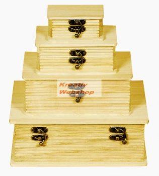 Könyv alakú, kapcsos fadoboz készlet, díszíthető - 4 db-os, 23x17x9cm