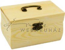 Fa doboz, tégla alakú, fogantyúval, natúr fadoboz 13x8x7cm