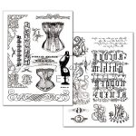 Transzfer papír - Régi fűzős divat és régi betűk - 2 ív A4