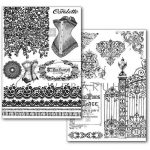 Transzfer papír - Régi fűzős divat és régi kovácsoltvas kerítés - 2 ív A4