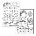 Transzfer papír - Régi virágos minták, szalagok és design betűk - 2 ív A4