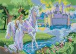 Kifestő készlet akrilfestékkel, ecsettel, gyerekeknek 11 éves kortól - 30x40 cm - Tündér kastély