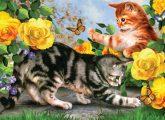 Kifestő készlet gyerekeknek - 30x40 cm - Számos kifestő készlet - Cicák játszanak sárga rózsák közöt