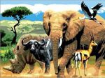 Kifestő készlet akrilfestékkel, ecsettel, gyerekeknek 11 éves kortól - 30x40 cm - Afrikai állatok