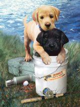 Kifestő készlet számokkal gyerekeknek - 20x25 cm - Labrador kölykök a tóparton