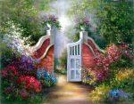 Kreatív hobby - Kert kapuja - Vásznas akril kifestő felnőtteknek