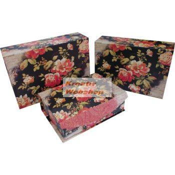 Kreatív hobby - Díszdobozok, Ajándékdobozok - Rózsás díszdoboz 3db