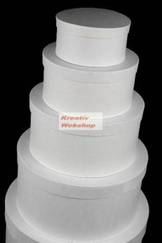Kreatív hobby - Doboz, papírdoboz készlet, fehér, kerek, nagy, 25-23-20-18-15cm