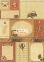 Albumpapír, Öntapadós A/4-es, Retro mintás - Vintage scrapbook papír, 5 különböző lap