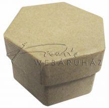 Papírdoboz tetővel, hatszög alakú, natúr, kicsi méretű, 6 x 5 x 3,5 cm