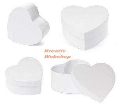 Díszíthető papírdoboz készlet, fehér, szív alakú, 3 db-os
