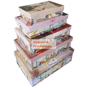 Díszdobozok, Ajándékdobozok - 5 db-os dobozkészlet Párizs és London mintával