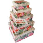 Díszdoboz - Virágmintás ajándékdoboz készlet - 5db-os díszdoboz készlet, négyzetes