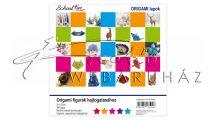 Egyszerű, alapszínes hajtogató készlet (origami papír) gyerekeknek, 20x20 cm, 100 lap, 10 színű vegy