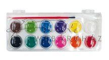 Vízfesték készlet ecsettel, 12 darabos, 28 mm (nagygombos) - iskolai vízfesték készlet
