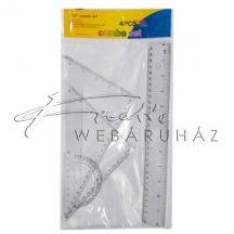 Iskolai műanyag vonalzó készlet - 30 cm egyenes-, 60°-és 45°-os háromszög vonalzó, 180°-os szögmérő