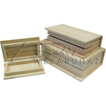 Díszíthető fadoboz készlet, könyv alakú, 3 db-os, 22x18x7cm