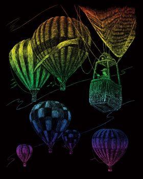 Képkarcoló készlet karctűvel - 20x25 cm - Szivárványos - Hőlégballon